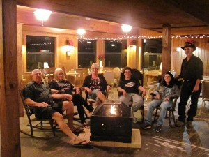 Grandma's room with fire pit and rocking chairs. Enjoy playing bingo or singing karaoke in the newly renovated lodge.
