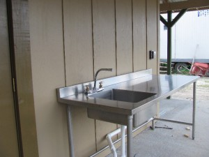 This is the Dog washing station. We have hot and cold water and a new spray handle faucet is being installed. A hair dryer will also be installed shortly.