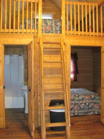 Bedroom with double bed, Loft (kids fort) with double bed and a full bathroom.