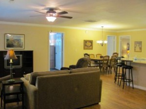 The great room is large enough for the whole family to enjoy.