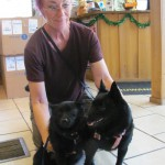 2 Small Black Dogs with Owner